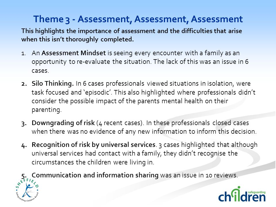 Theme 3 - Assessment, Assessment, Assessment 1.An Assessment Mindset is seeing every encounter with a family as an opportunity to re-evaluate the situation.