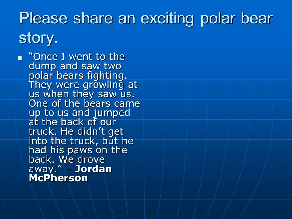 Once I went to the dump and saw two polar bears fighting.