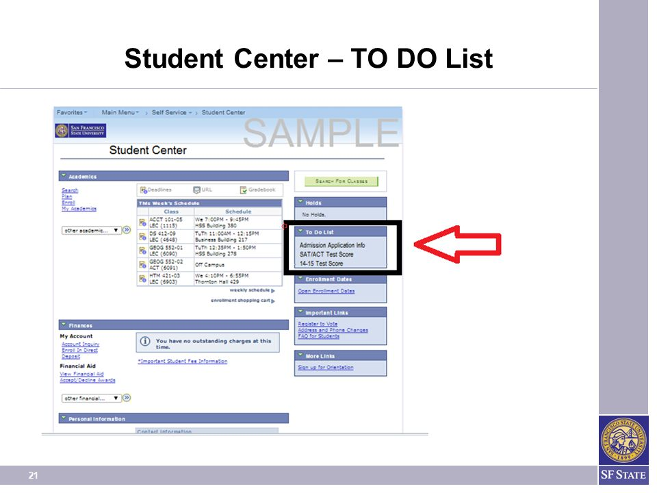 21 Student Center – TO DO List