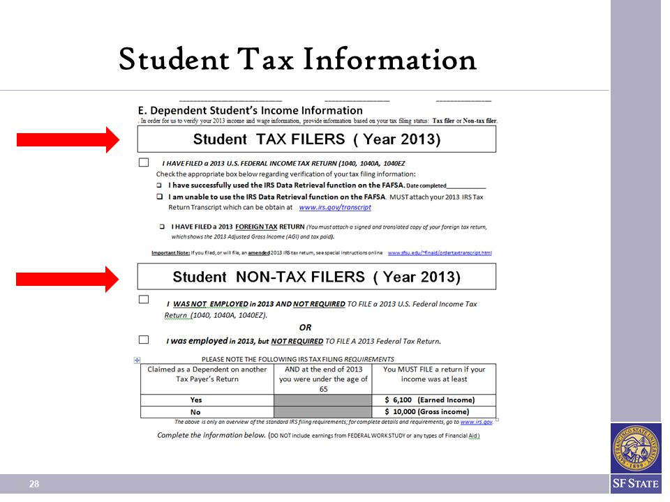 28 Student Tax Information