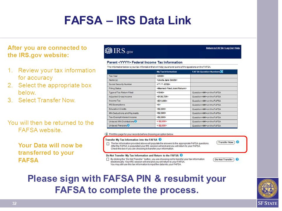 32 FAFSA – IRS Data Link After you are connected to the IRS.gov website: 1.Review your tax information for accuracy 2.Select the appropriate box below.