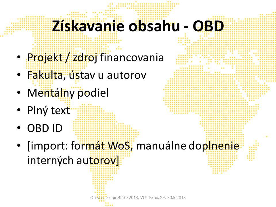 Získavanie obsahu - OBD Projekt / zdroj financovania Fakulta, ústav u autorov Mentálny podiel Plný text OBD ID [import: formát WoS, manuálne doplnenie interných autorov] Otevřené repozitáře 2013, VUT Brno, 29.-30.5.2013
