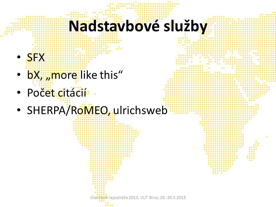 """Nadstavbové služby SFX bX, """"more like this Počet citácií SHERPA/RoMEO, ulrichsweb Otevřené repozitáře 2013, VUT Brno, 29.-30.5.2013"""