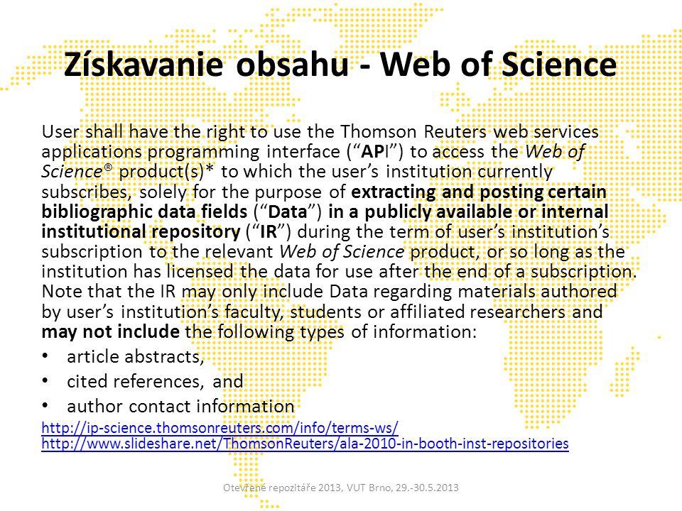 Trendy Altmetrics Štatistiky využívania Integrácia na národnej úrovni Začína sa s ukladaním výskumných dát Prezervácia integrovaná platforma výskumných informácií a workflow, interoperabilita Sémantický web, API Otevřené repozitáře 2013, VUT Brno, 29.-30.5.2013