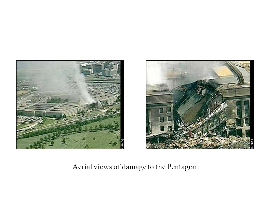 Aerial views of damage to the Pentagon.
