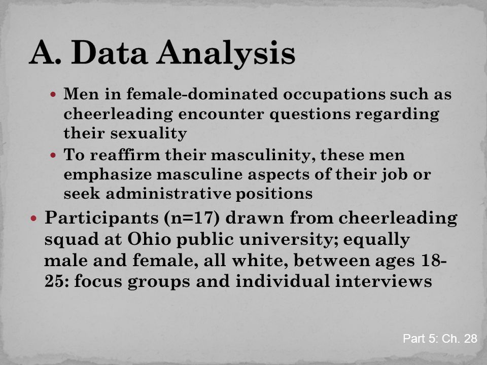 Men in female-dominated occupations such as cheerleading encounter questions regarding their sexuality To reaffirm their masculinity, these men emphasize masculine aspects of their job or seek administrative positions Participants (n=17) drawn from cheerleading squad at Ohio public university; equally male and female, all white, between ages 18- 25: focus groups and individual interviews Part 5: Ch.