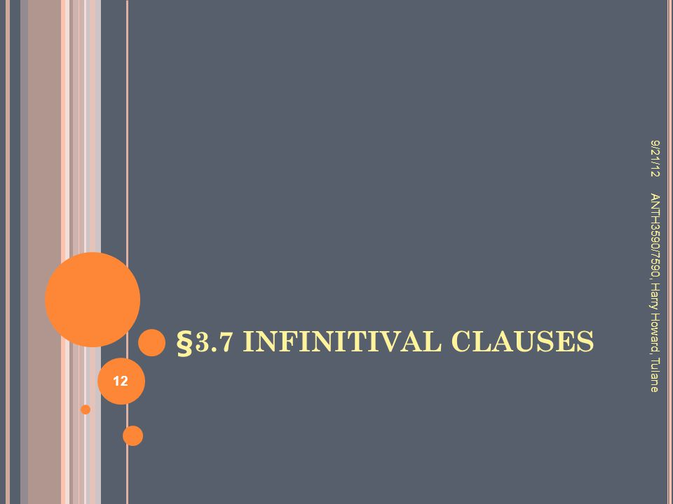 §3.7 INFINITIVAL CLAUSES 9/21/12 ANTH3590/7590, Harry Howard, Tulane 12