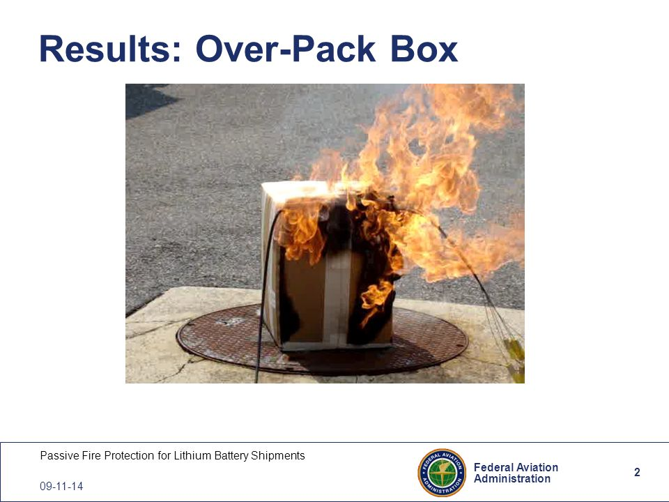 2 Federal Aviation Administration Passive Fire Protection for Lithium Battery Shipments 09-11-14 Results: Over-Pack Box 2