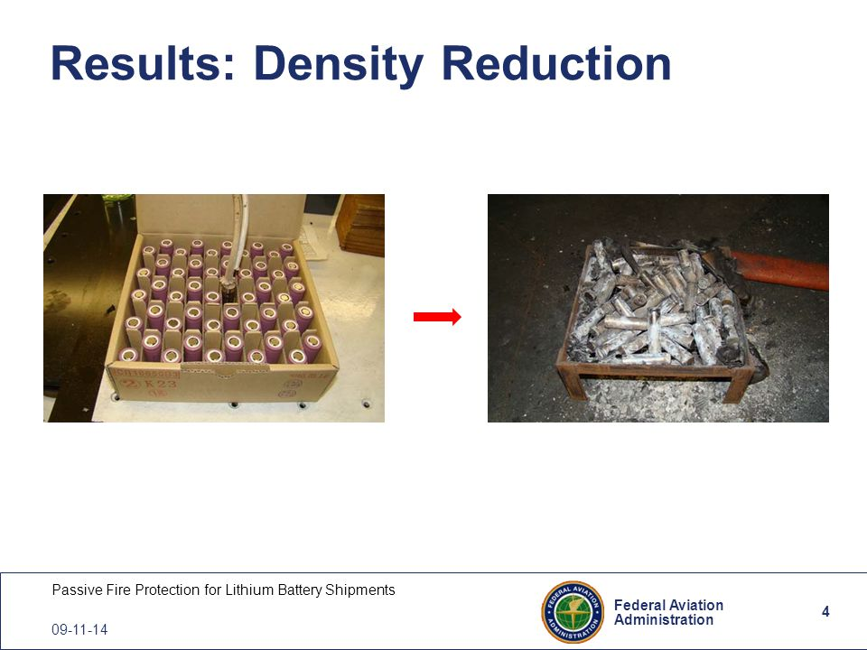 4 Federal Aviation Administration Passive Fire Protection for Lithium Battery Shipments 09-11-14 Results: Density Reduction 4