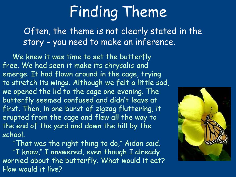 Finding Theme Often, the theme is not clearly stated in the story - you need to make an inference.