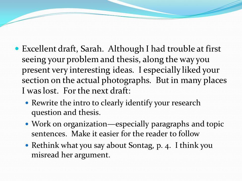 Excellent draft, Sarah.