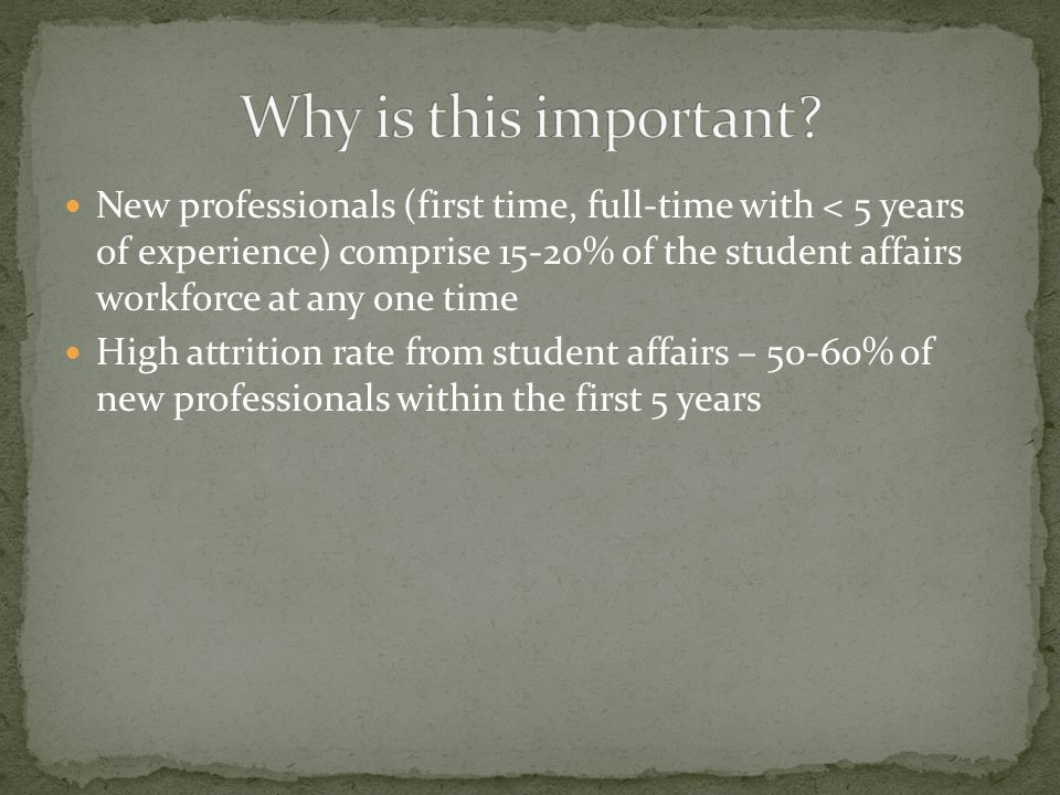 New professionals (first time, full-time with < 5 years of experience) comprise 15-20% of the student affairs workforce at any one time High attrition rate from student affairs – 50-60% of new professionals within the first 5 years