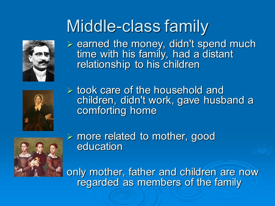 Middle-class family  earned the money, didn t spend much time with his family, had a distant relationship to his children  took care of the household and children, didn t work, gave husband a comforting home  more related to mother, good education only mother, father and children are now regarded as members of the family