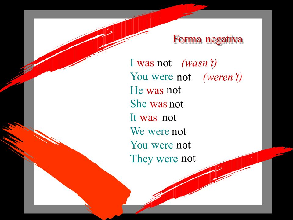 Forma afirmativa I You were HeSheIt We were You were They were was was was was