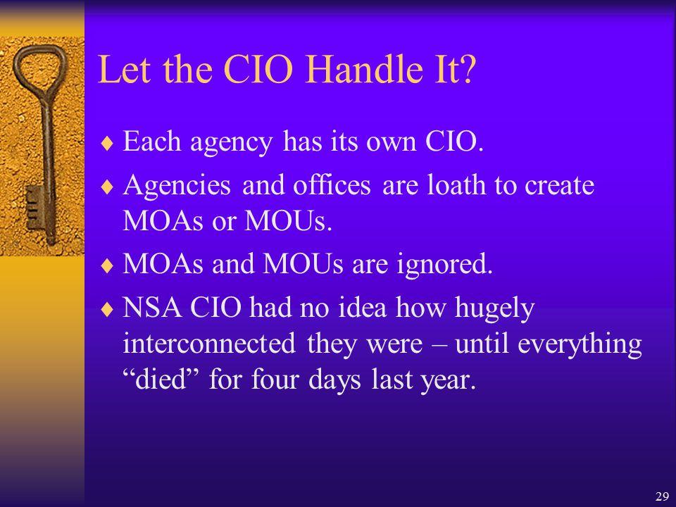29 Let the CIO Handle It.  Each agency has its own CIO.