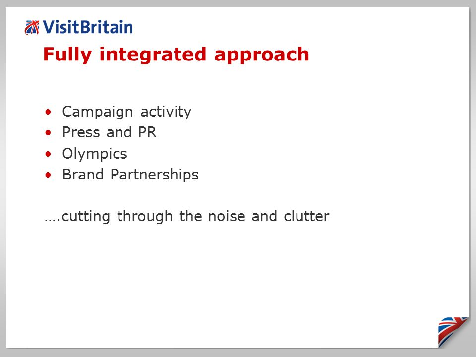 Fully integrated approach Campaign activity Press and PR Olympics Brand Partnerships ….cutting through the noise and clutter