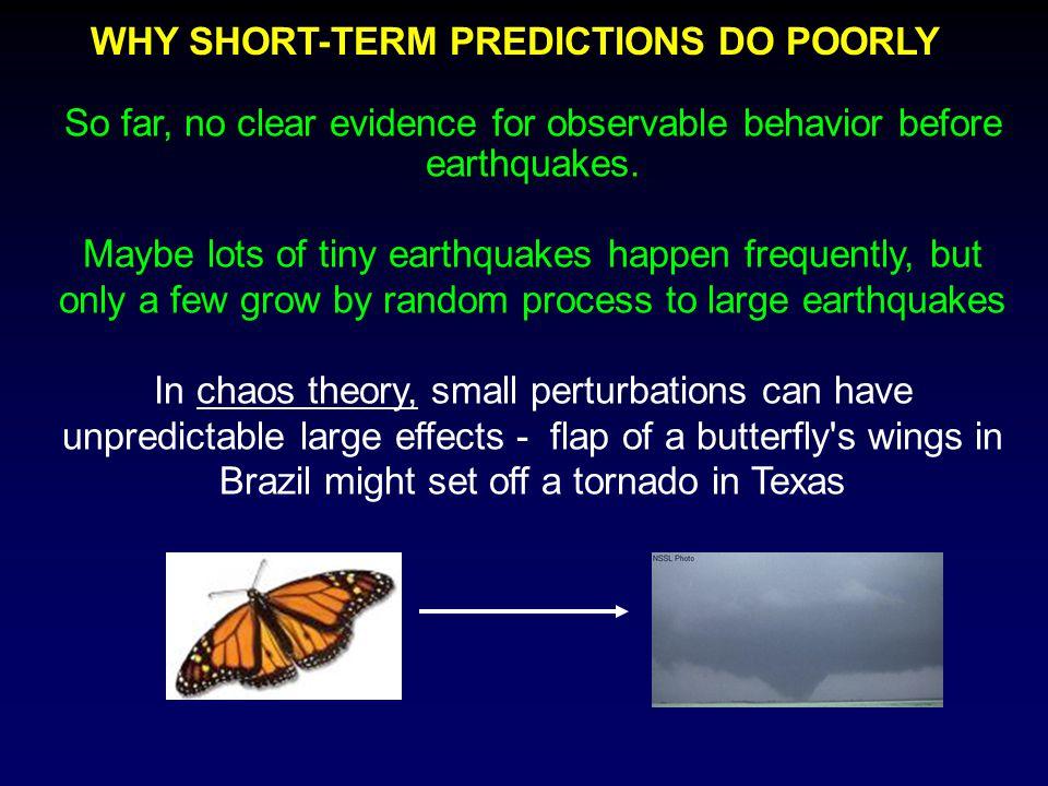So far, no clear evidence for observable behavior before earthquakes.