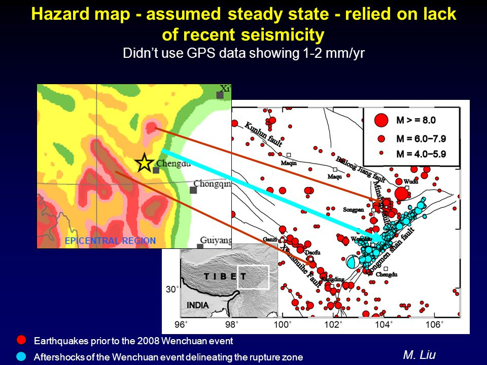 Hazard map - assumed steady state - relied on lack of recent seismicity Didn't use GPS data showing 1-2 mm/yr Earthquakes prior to the 2008 Wenchuan event Aftershocks of the Wenchuan event delineating the rupture zone M.