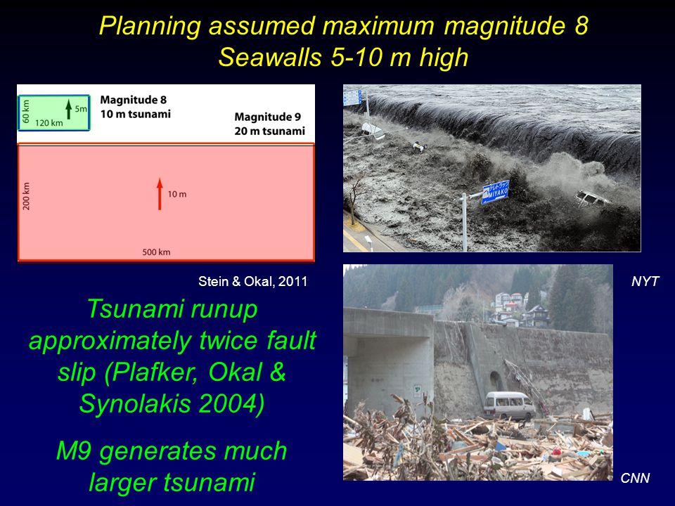 Tsunami runup approximately twice fault slip (Plafker, Okal & Synolakis 2004) M9 generates much larger tsunami Planning assumed maximum magnitude 8 Seawalls 5-10 m high CNN NYTStein & Okal, 2011