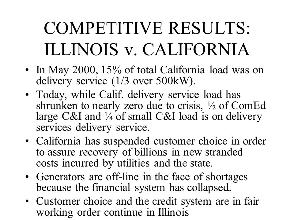 COMPETITIVE RESULTS: ILLINOIS v.