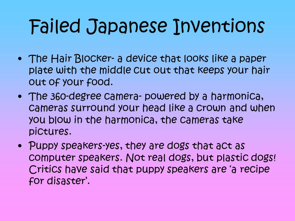 Failed Japanese Inventions The Hair Blocker- a device that looks like a paper plate with the middle cut out that keeps your hair out of your food. The