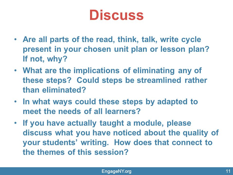 Discuss Are all parts of the read, think, talk, write cycle present in your chosen unit plan or lesson plan.