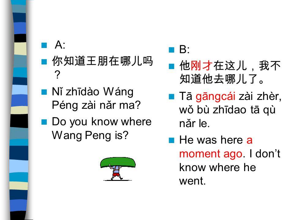 A: 你知道王朋在哪儿吗 ? Nǐ zhīdào Wáng Péng zài nǎr ma? Do you know where Wang Peng is? B: 他刚才在这儿,我不 知道他去哪儿了。 Tā gāngcái zài zhèr, wǒ bù zhīdao tā qù nǎr le. H