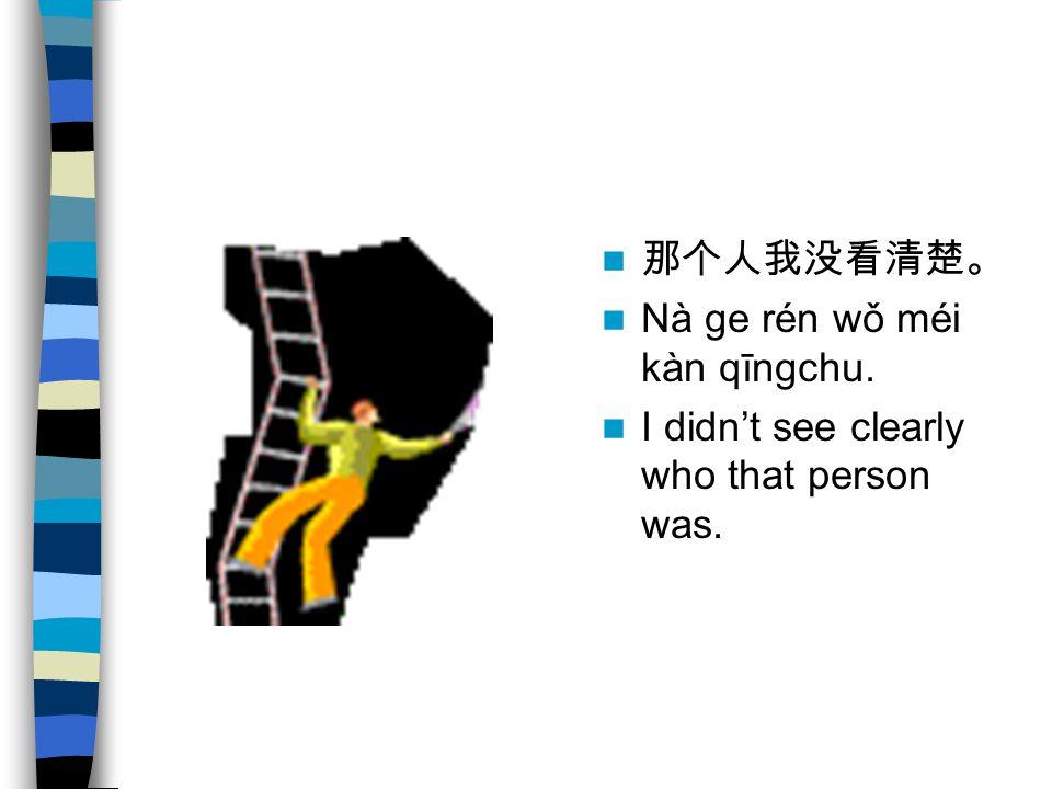 那个人我没看清楚。 Nà ge rén wǒ méi kàn qīngchu. I didn't see clearly who that person was.