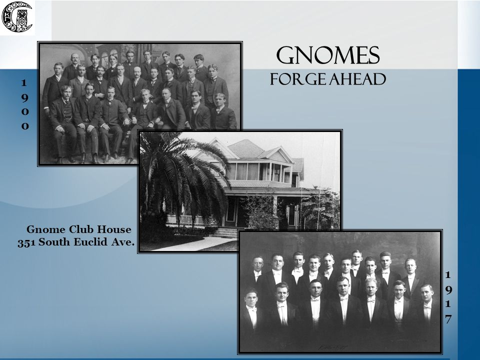 gnomes forge ahead 19001900 19171917 Gnome Club House 351 South Euclid Ave.