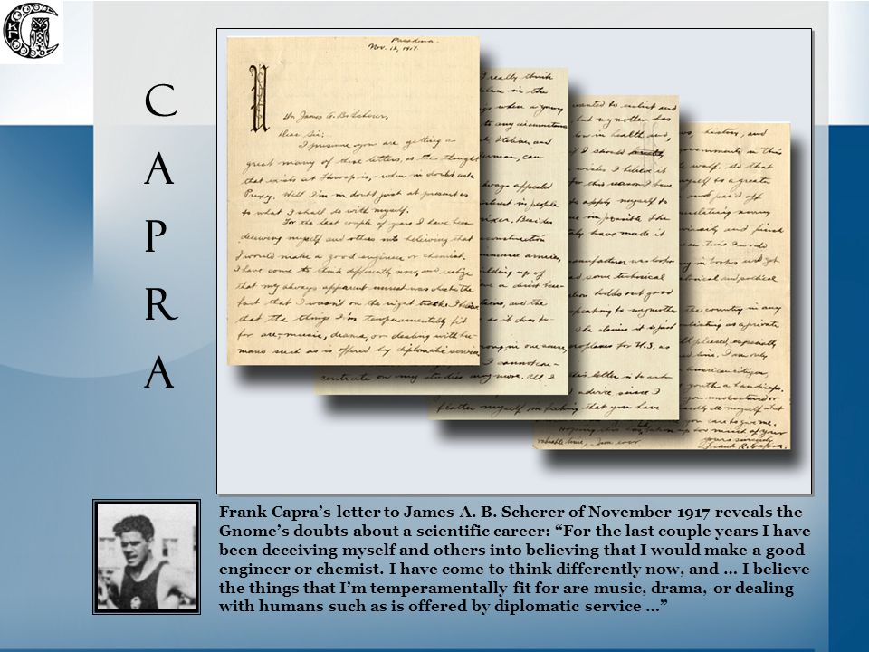 Frank Capra's letter to James A. B.