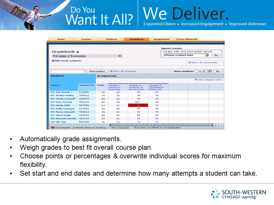 Automatically grade assignments.Weigh grades to best fit overall course plan.
