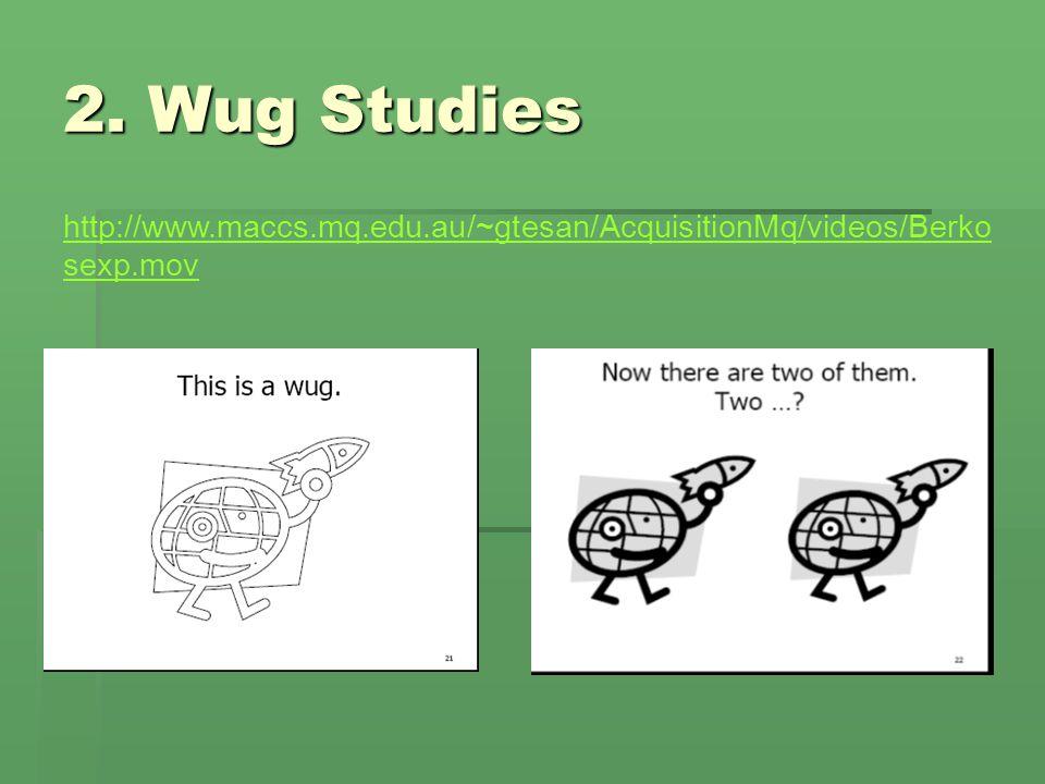 2. Wug Studies http://www.maccs.mq.edu.au/~gtesan/AcquisitionMq/videos/Berko sexp.mov