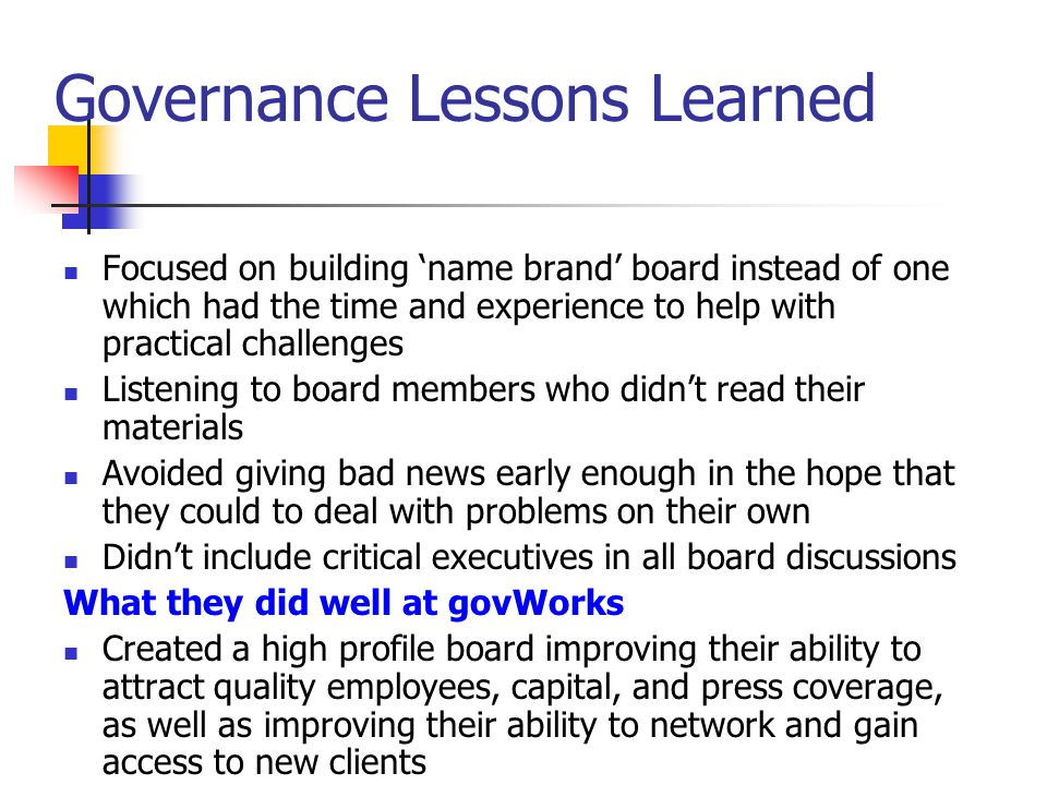 Technical Lessons Learned Didn't call out problems with Sapient (employees) early enough and didn't insist they be fixed Didn't force product, marketing, and executive teams to adequately document requests and requests for changes Making architecture decisions without enough consideration for HR availability Trying to do too much at once Didn't sufficiently componentize services What they did well at govWorks Created in 12 months a highly functional web portal which supported complex, customized, and robust financial processing