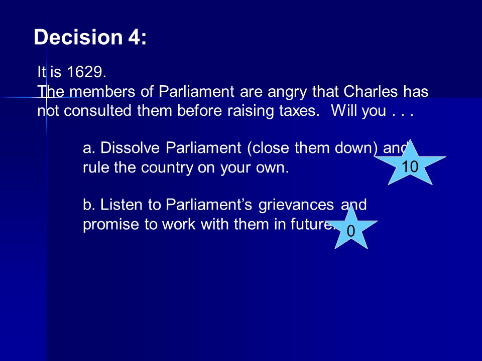 Decision 4: It is 1629. The members of Parliament are angry that Charles has not consulted them before raising taxes. Will you... a. Dissolve Parliame