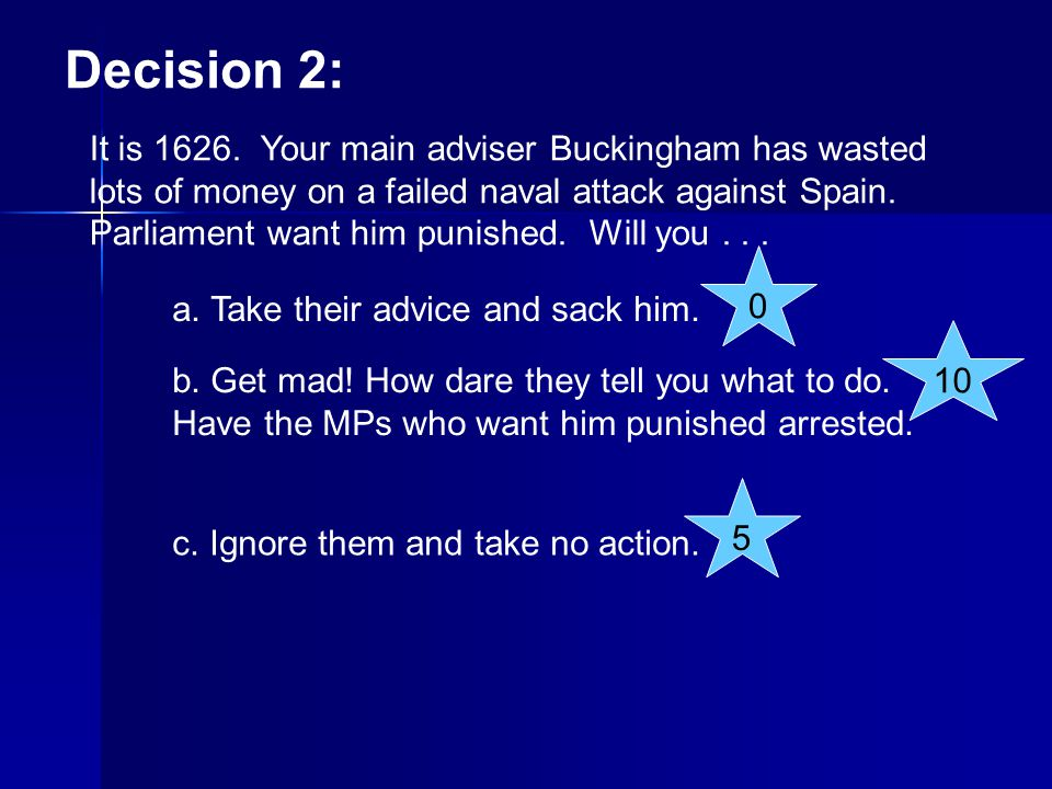 Decision 17: Parliament prepares its army for war against the King.