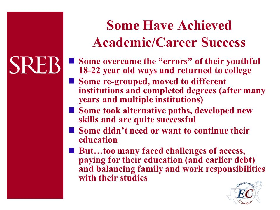 "Some Have Achieved Academic/Career Success Some overcame the ""errors"" of their youthful 18-22 year old ways and returned to college Some re-grouped, m"