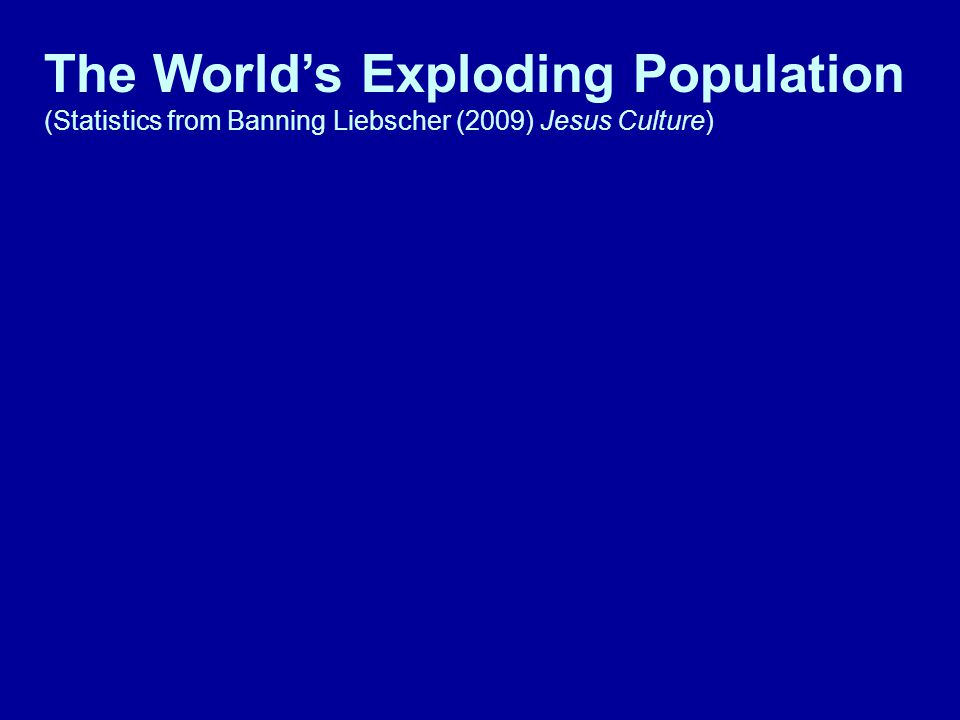 The World's Exploding Population (Statistics from Banning Liebscher (2009) Jesus Culture)