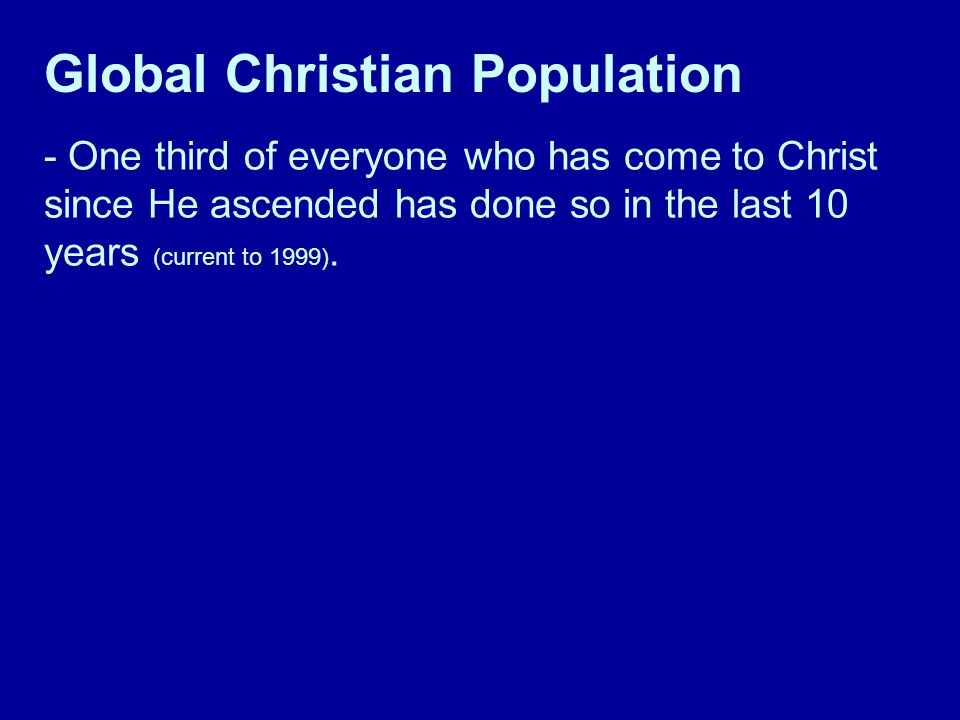 - One third of everyone who has come to Christ since He ascended has done so in the last 10 years (current to 1999).