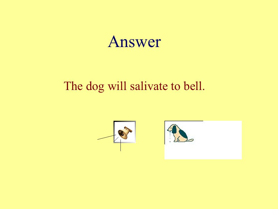 Answer The dog will salivate to bell.