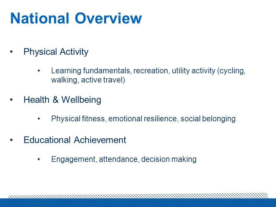 National Overview Physical Activity Learning fundamentals, recreation, utility activity (cycling, walking, active travel) Health & Wellbeing Physical fitness, emotional resilience, social belonging Educational Achievement Engagement, attendance, decision making