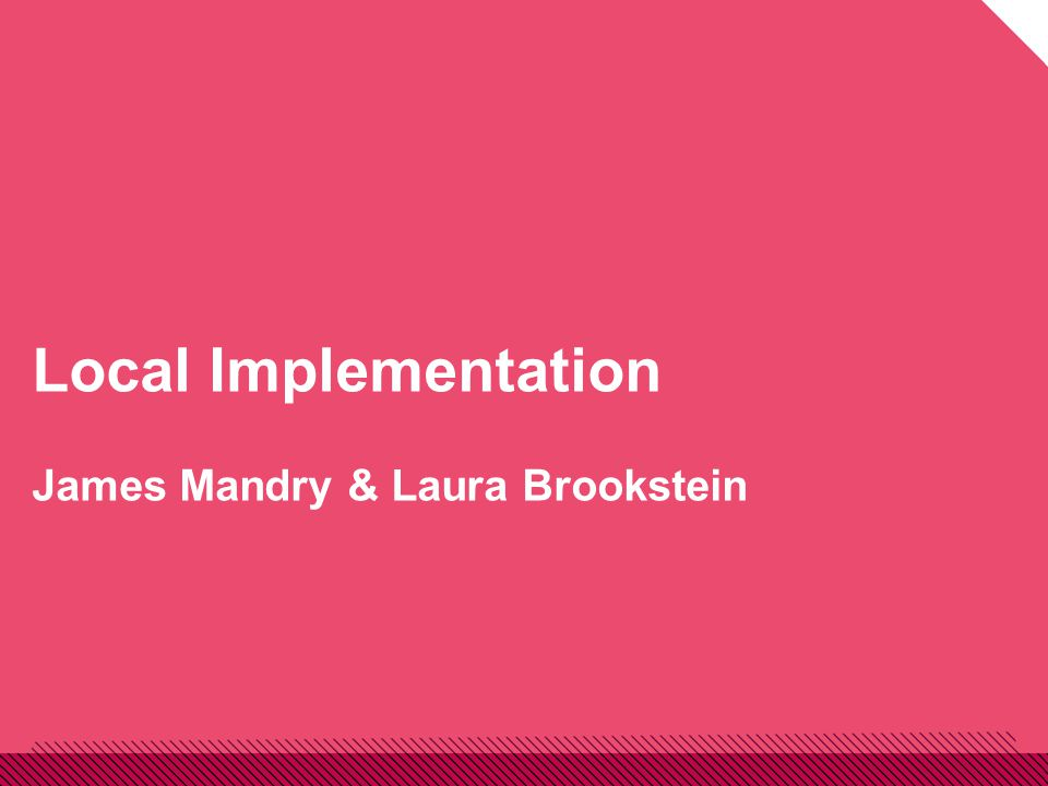Local Implementation James Mandry & Laura Brookstein
