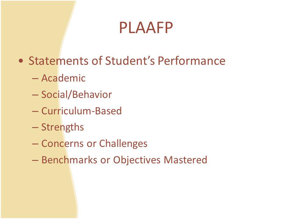 Resources for PLAAFP Formal Assessments Informal Assessments Curriculum-Based Assessments Behavioral Data Observations Parent Interviews Student Interviews