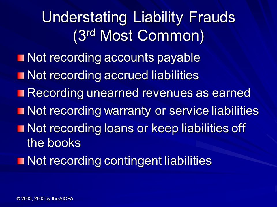 © 2003, 2005 by the AICPA Understating Liability Frauds (3 rd Most Common) Not recording accounts payable Not recording accrued liabilities Recording unearned revenues as earned Not recording warranty or service liabilities Not recording loans or keep liabilities off the books Not recording contingent liabilities