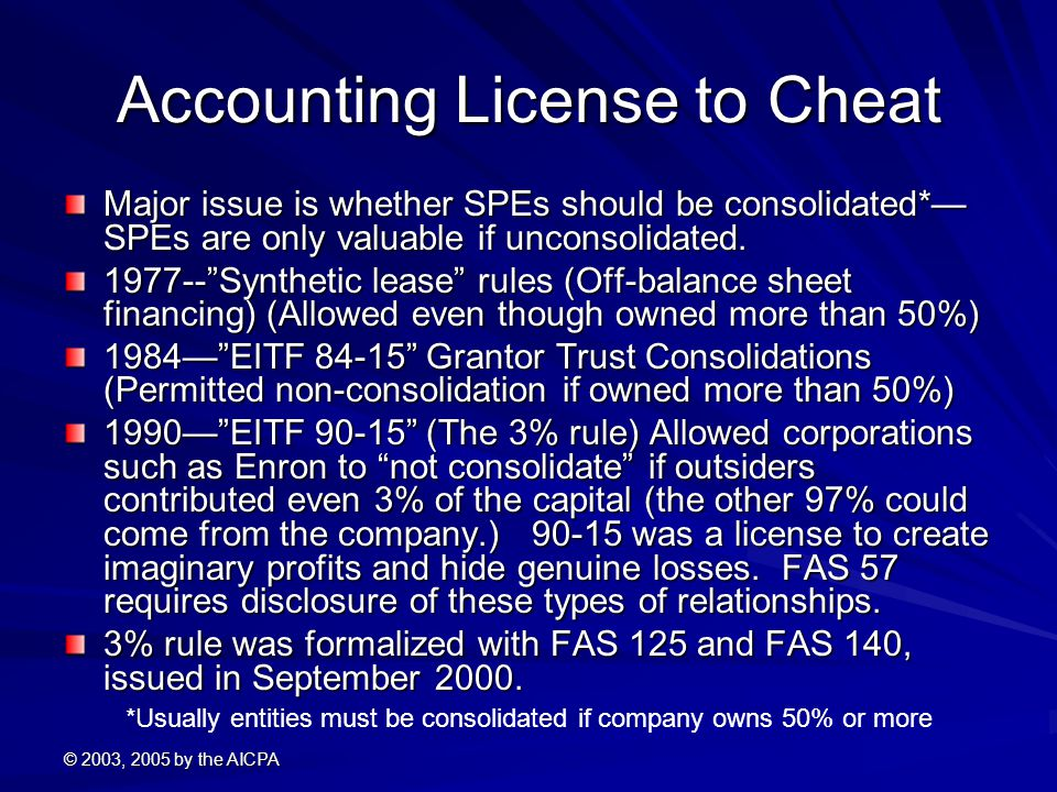 © 2003, 2005 by the AICPA Accounting License to Cheat Major issue is whether SPEs should be consolidated*— SPEs are only valuable if unconsolidated.