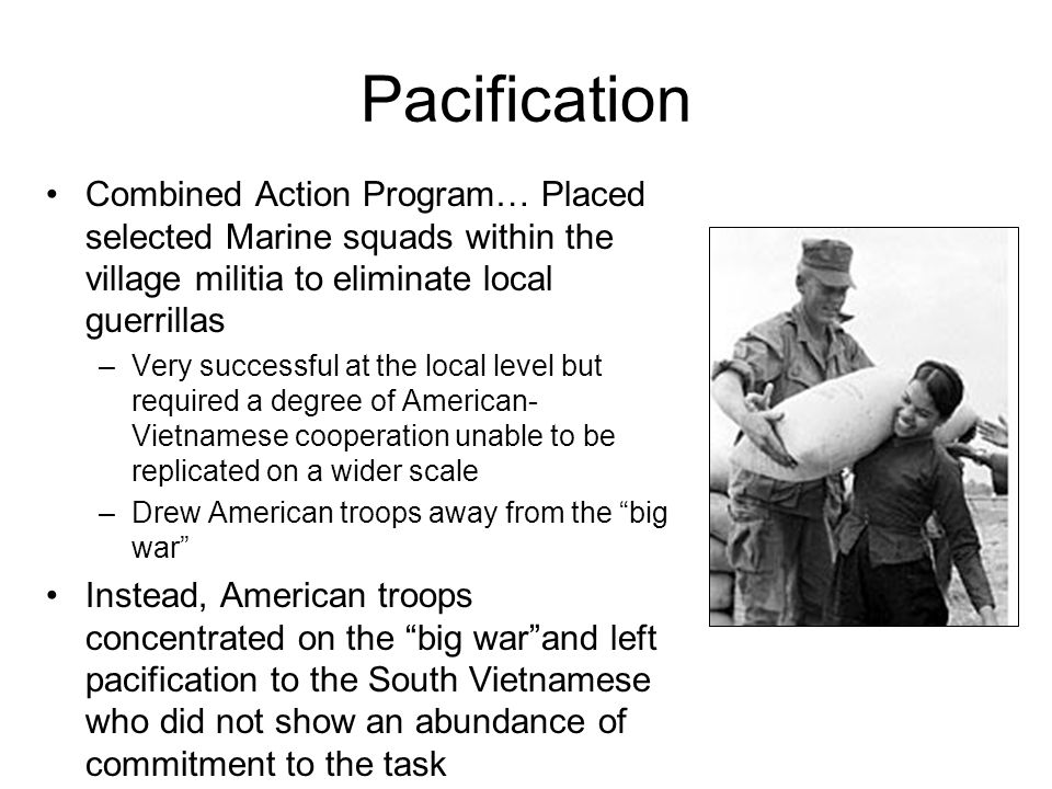 Pacification Combined Action Program… Placed selected Marine squads within the village militia to eliminate local guerrillas –Very successful at the l