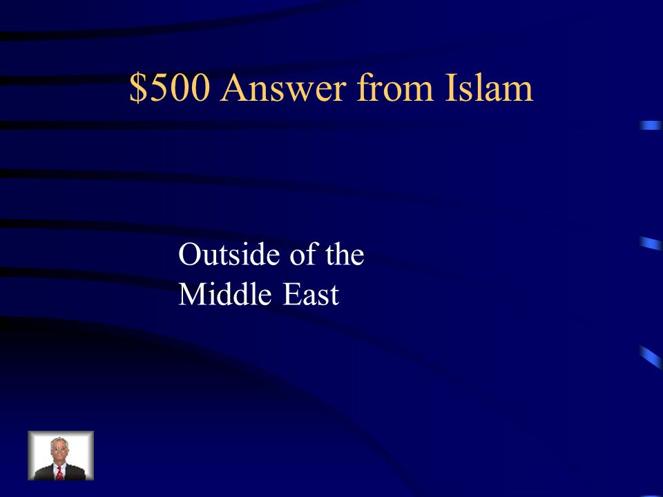 $500 Question from Islam Most Muslims reside in what area.