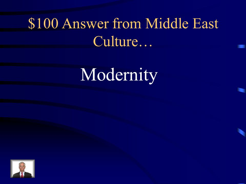 $100 Question from Middle East Culture… The biggest tension in Islam society today is between tradition and this