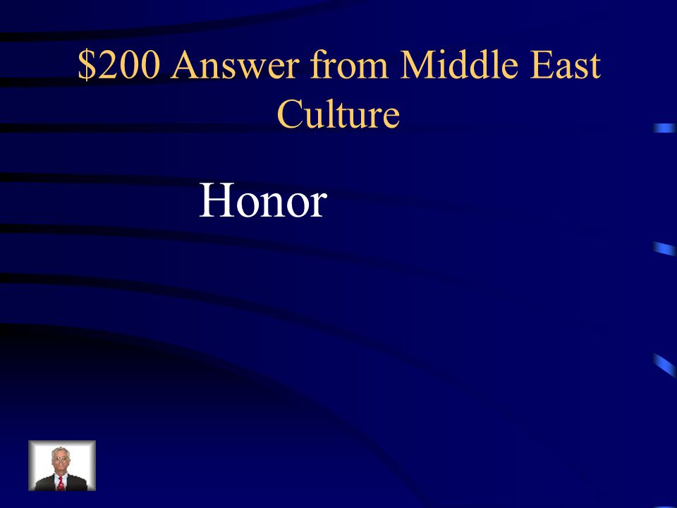 $200 Question from Middle East Culture… This term for self-respect and pride is considered one of the most important aspects of family life in the Middle East