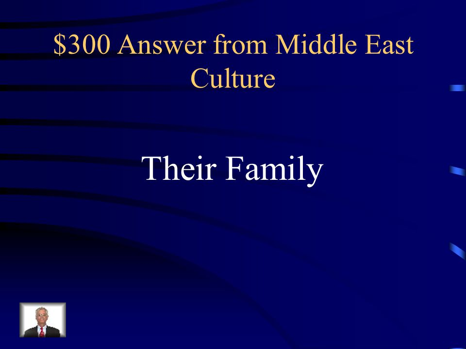 $300 Question from Middle East Culture Most Middle Eastern people have a fierce loyalty to this group of people above even the law.
