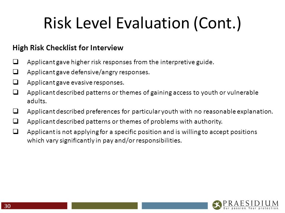 Risk Level Evaluation (Cont.) High Risk Checklist for Interview  Applicant gave higher risk responses from the interpretive guide.  Applicant gave d